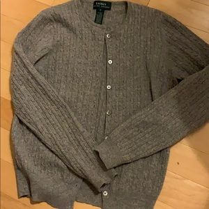 Ralph Lauren gray cable knit cardigan